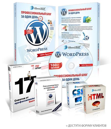 Видеокурс «Wordpress — Профессиональный блог за один день» - Евгений Попов