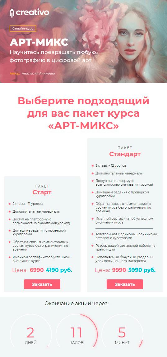 Анастасия Аникеева - курс «Арт-Микс» со скидкой