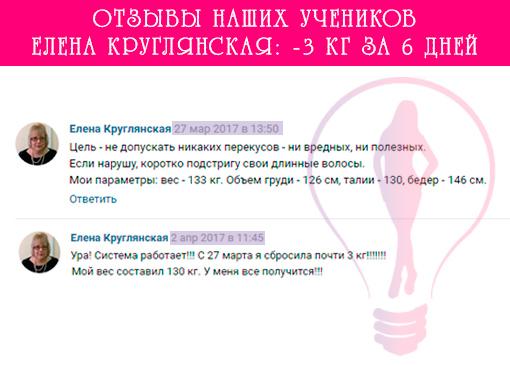 Результат Елены Круглянской - сбросила 3 кг