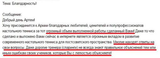Артем Уточкин. Отзыв и благодарность за уроки
