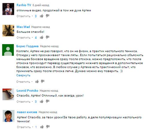 отзывы к видео Артема Уточкина на ютюбе