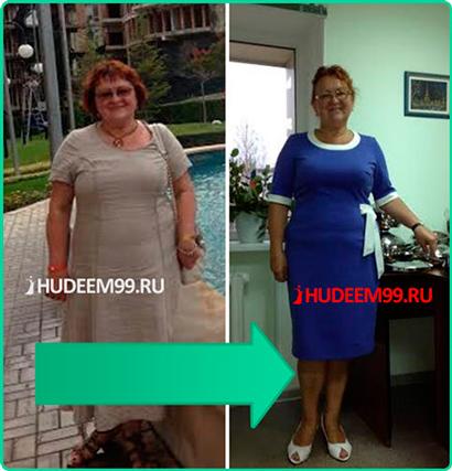 Результат участницы курса похудения Галины Гроссман - Татьяна Тарасова