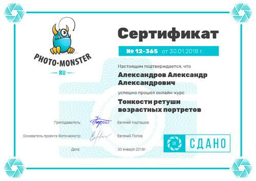 Евгений Карташов сертификат