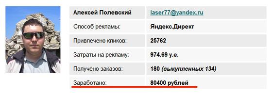 Результаты Алексея Полевского - «Заработок на партнерках»